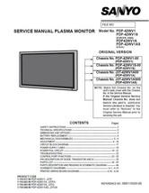 SANYO PDP-42WV1A PDP-42WV1AS TV SERVICE REPAIR MANUAL - $5.39