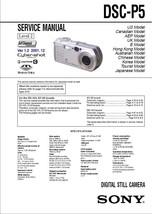SONY DSC-P5 DIGITAL CAMERA SERVICE REPAIR MANUAL - $7.95