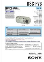 Sony DSC-P73 Digital Camera Service Repair Manual - $7.95