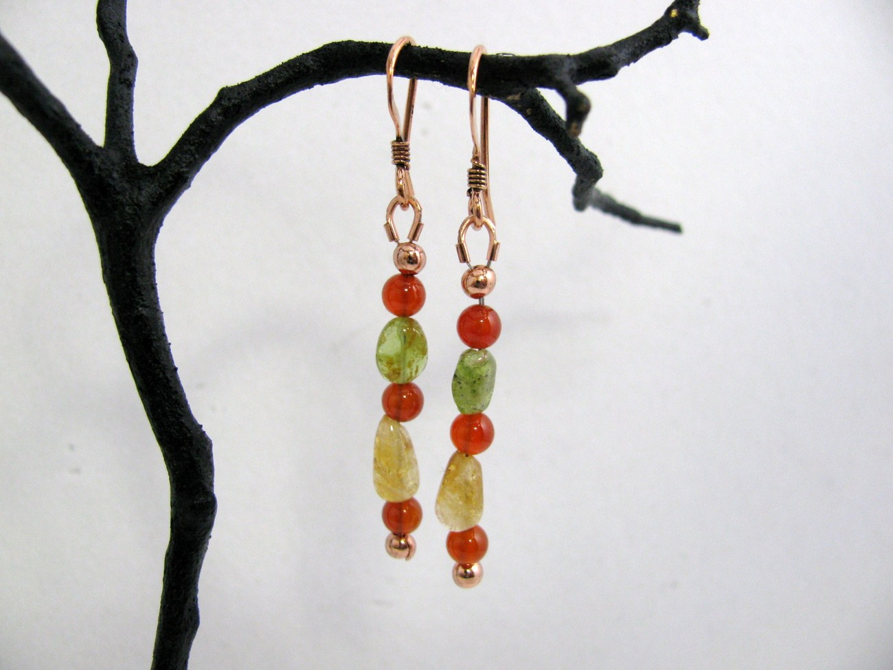 Carnelian, Citrine, Peridot and Copper Earrings, RKMixables Copper Collection, R