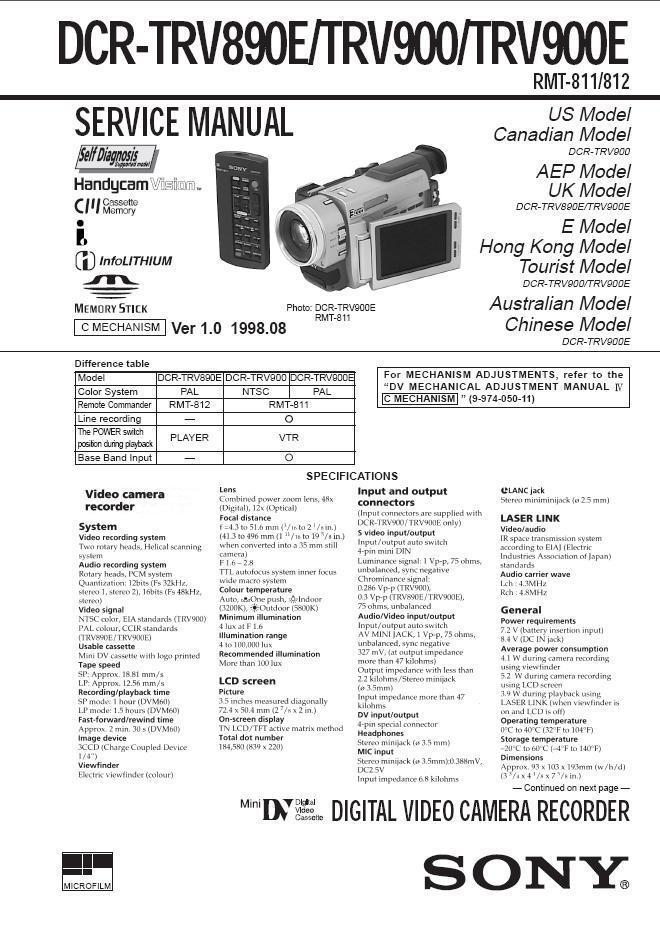 Sony dcr-trv900 ntsc minidv handycam digital video camcorder.