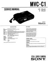SONY MAVICA MVC-C1 VIDEO CAMERA SERVICE REPAIR MANUAL - $5.95