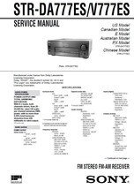 SONY STR-DA777ES STR-V777ES RECEIVER SERVICE MANUAL - $7.95