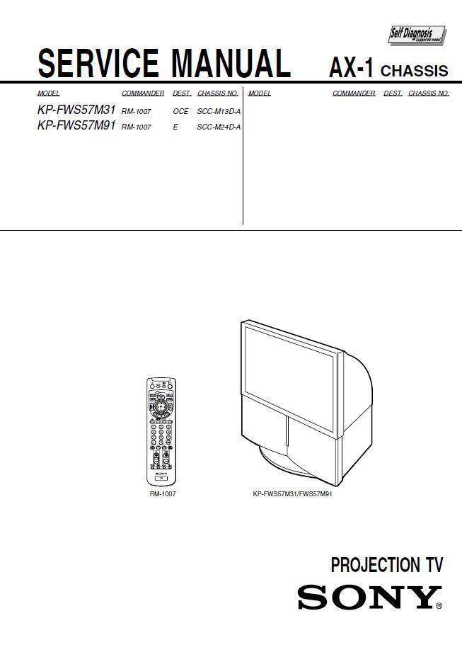 SONY KP-FWS57M31 KP-FWS57M91 TV SERVICE REPAIR MANUAL - $7.95
