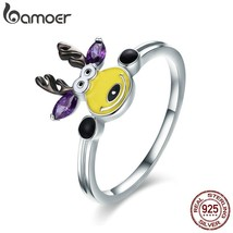 100% 925 Sterling Silver Magic Elk Deer Party Purple CZ Finger Ring Women - $21.85
