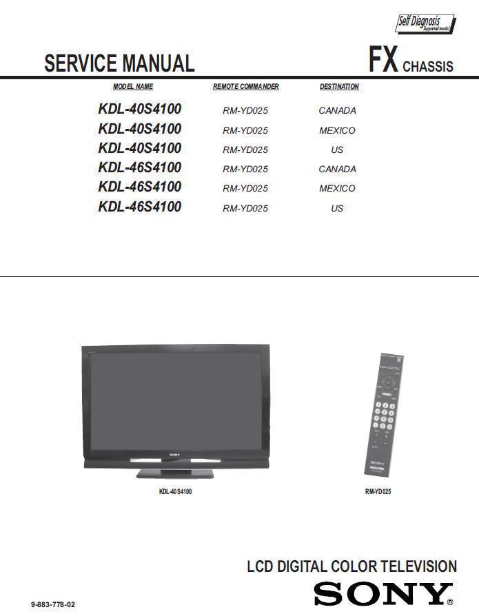 sony kdl 40s4100 kdl 46s4100 tv service and 50 similar items rh bonanza com sony kdl 40s5100 manual sony kdl-40s4100 service manual