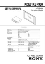 SONY KDE61XBR950 TV FACTORY SERVICE REPAIR MANUAL - $7.95