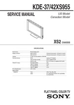 Sony KDE-37XS955 KDE-42XS955 Service Repair Manual XS2 - $7.95