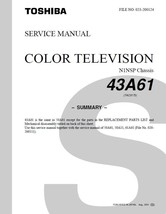 Toshiba 43A61 Projection Tv Service Repair Manual - $7.95