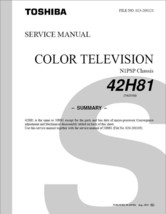 TOSHIBA 42H81 PROJECTION TV SERVICE REPAIR MANUAL N1PSP - $6.39
