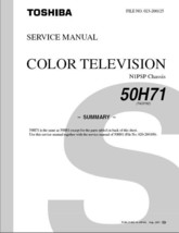 TOSHIBA 50H71 PROJECTION TV SERVICE REPAIR MANUAL N1PSP - $6.39