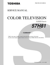 Toshiba 57H81 Projection Tv Service Repair Manual N1PSP - $7.95