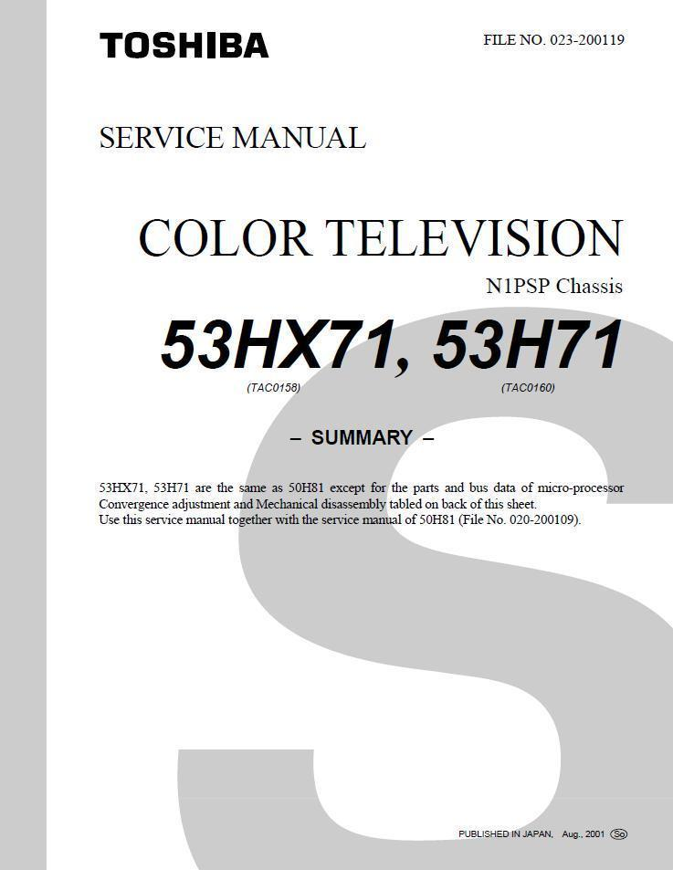 toshiba 53hx71 53h71 tv service repair manual and 20 similar items rh bonanza com