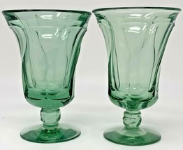 SET OF 2 FOSTORIA JAMESTOWN GREEN ICED TEA STEM GLASSES GOBLETS TUMBLERS... - $33.20