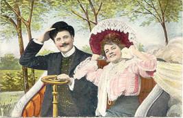 Breezin Along With The Breeze Vintage Romantic Post Card - $6.00