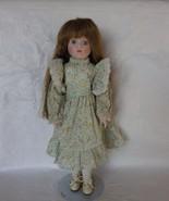 Porcelain Collectors Doll Brown Wavy Hair Flora... - $30.00
