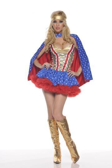 Sexy Hero Super Heroine Wonder Woman Adult Halloween Costume With Petticoat S/M