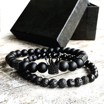 2pcs/set Men Bead Bracelet Crown Charm Natural Beads Buddha Bracelet for Mens  - $18.14