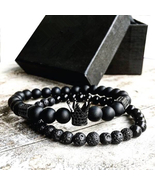 2pcs/set Men Bead Bracelet Crown Charm Natural Beads Buddha Bracelet fo... - $18.14