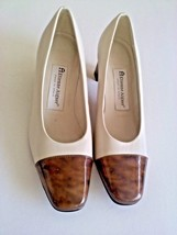Etienne Aigner Cream Off White Brown Tips Size 6 M Pump Heels Leather Sh... - $19.99