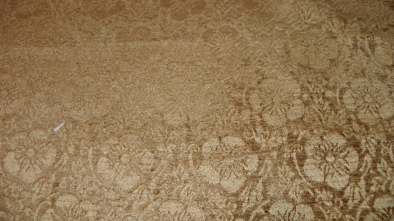 Gold Print Chenille Upholstery Fabric R454