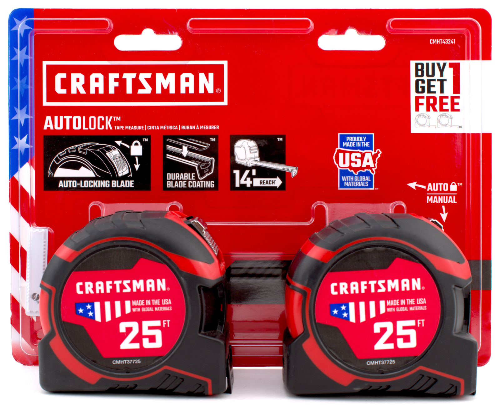 2 Pack Craftsman Pro-11 25' Foot Tape Measure with Auto Lock (Made in USA) - $26.99