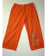 WOMEN COTTON STUFF ORANGE CASUAL PANTS L LARGE - $7.00