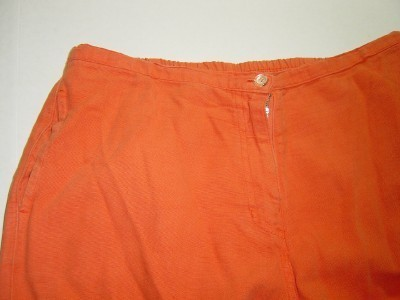 WOMEN COTTON STUFF ORANGE CASUAL PANTS L LARGE