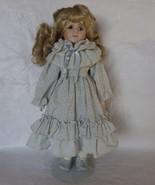 Porcelain Collectors Doll Blond Hair Light Blue... - $30.00