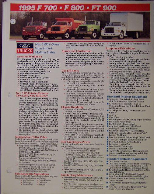 1995-1996 Ford L-series Louisville, F-Series Trucks Spec Sheets - Lot of 5