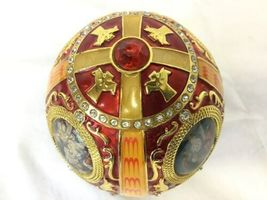 Vintage Red and Gold Egg Metal and Enamel Trinket Box Nativity Christmas image 6