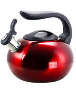 Mr Coffee Langham 2.1 Quart. Stainless Steel Whistling Tea Kettle in Red - €35,19 EUR