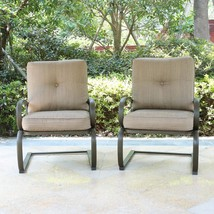 Set of 2 Patio Club Chairs Outdoor Dining Wrought Iron Set Garden Bounce... - $209.99
