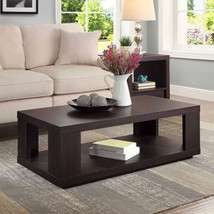 Coffee Table With Storage Bottom Shelf Living Room Furniture Espresso Fi... - €106,36 EUR