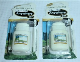 Lot of 2 Yankee Candle Clean Cotton Almost Anywhere Jar Air Freshener Scent - $11.39