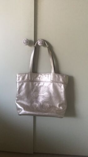 NWT COACH Logos Metallic Leather Platinum Large Tote Shoulder Bag NEW