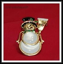 KC  Christmas Holiday  Brooch Pin Moonstone Rhinestone Enamel Snowman - $12.38