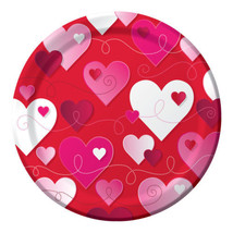 """Hearts Swirls Valentines Day Party 8 9"""" Lunch Dinner Plates - $3.99"""