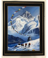 MOUNT EVEREST VIEW FROM BASE CAMP ORIGINAL ACRYLIC PAINTING IN CANVAS  2... - $98.85