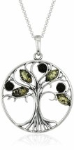 """New 18"""" Green Amber Gem Stone Sterling Silver Tree Pendant Necklace NWT"""