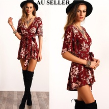 Women Sexy Casual Floral Printed Party Evening Plasuit Mini Short Dress - $39.00