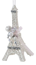 Glittered Eiffel Tower with Beads Holiday Ornament - $27.76