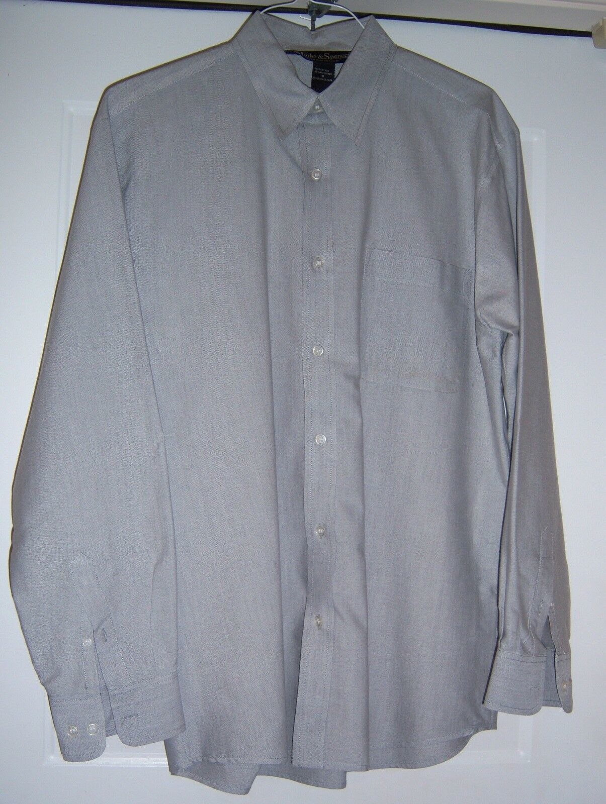 MARKS AND SPENCER Oxford Style Shirt Cotton blend L/S Gray Men's M