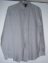 MARKS AND SPENCER Oxford Style Shirt Cotton blend L/S Gray Men's M - $27.95