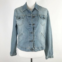 Levis Womens Jacket Size Medium M Light Wash Long Sleeve Button Up - $37.96