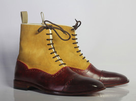 Handmade Men's Burgundy & Tan High Ankle Lace Up Leather & Suede Boots image 5