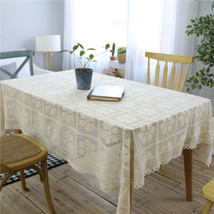 Flower Hollow Decorative Table Cloth Cotton Lace Tablecloth Dining Table... - $13.09+