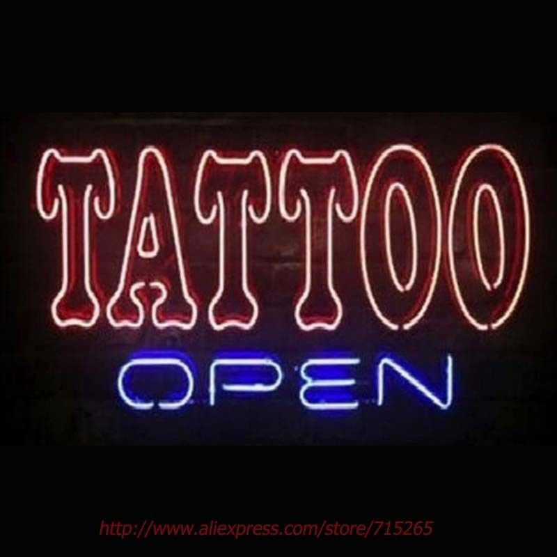 """New Tattoo Open Beer Pub Bar Real Glass Neon Sign 24""""x20"""""""