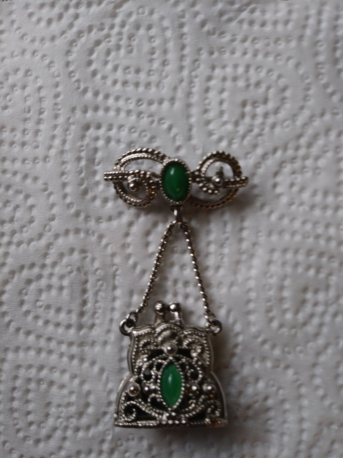 Unique Silver Jade Pin With Opening Purse To Adding Your Favorite Fragrance Jewe