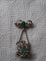 Unique Silver Jade Pin With Opening Purse To Adding Your Favorite Fragrance Jewe image 1